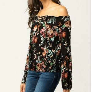 Floral lace up off shoulder top